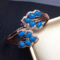 Natural azul tanzanita brazaletes gema Piedra Natural pulsera plata 925 hoja elegante abrazo partido joyería fina