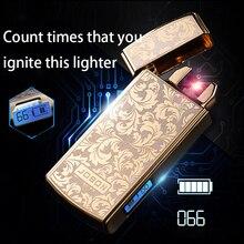 ebbc5ea54 هزة إشعال مصباح USB مزدوجة قوس يمكن الاعتماد تستخدم الوقت البلازما السجائر  Ligther للتدخين شحن الليزر شعار الإلكترونية إعادة شحن