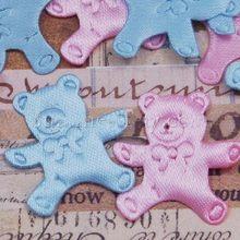 Urso de tecido cetim bebê 50 pçs/lote, aplique enfeite para chá de bebê festa de decoração scrapbooking artesanato projeto lembrancinha