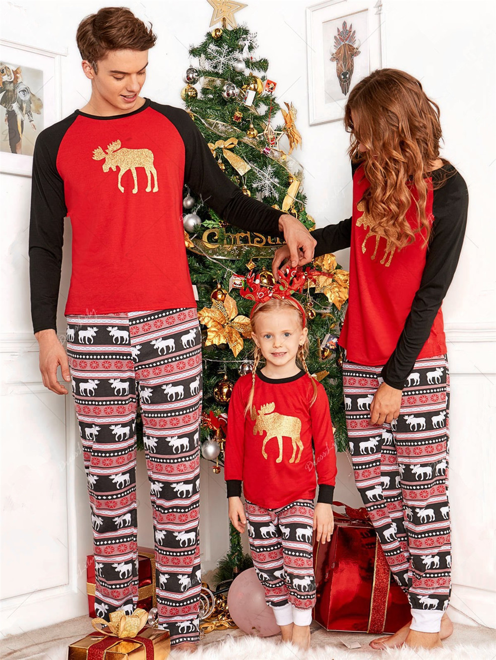 Cosplay 2pcs Toddler Kids adult long sleeve red striped elk set family clothing Christmas elf pajamas home Parent-child costume