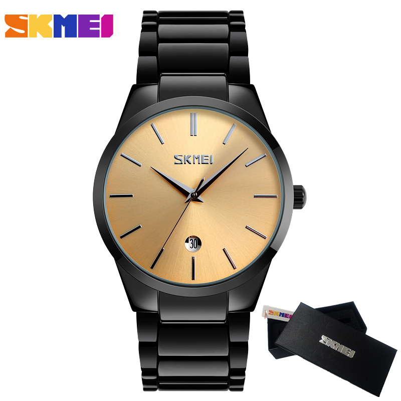 2017 Top Luxury Brand SKMEI Men Full Stainless Steel Business Watches Men's Quartz Date Clock Men Wrist Watch relogio masculino migeer relogio masculino luxury business wrist watches men top brand roman numerals stainless steel quartz watch mens clock zer