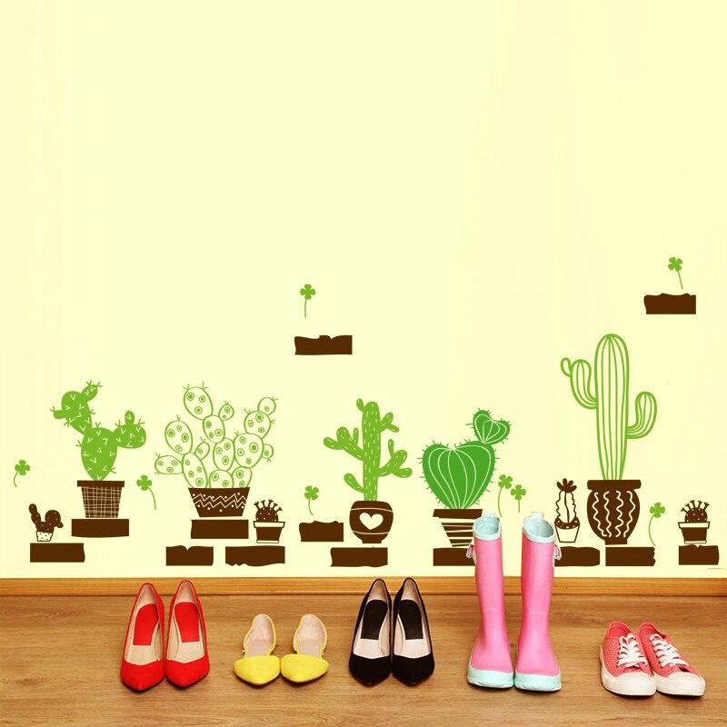 SHIJUEHEZI] Plante En Pot Cactus Wall Sticker Vinyle DIY Art Mural ...