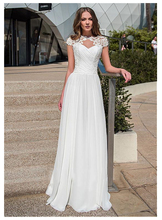 LORIE Wedding Dress Lace Boho Sleeveless White Beach Appliques O Neck Princess Bride Free Shipping