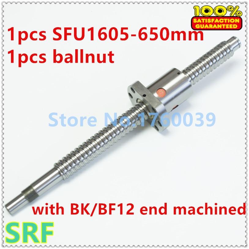 100% Brand New 1pcs 16mm SFU1605 Rolled ball screw L=650mm with SFU1605 Ballscrew nut for CNC Part