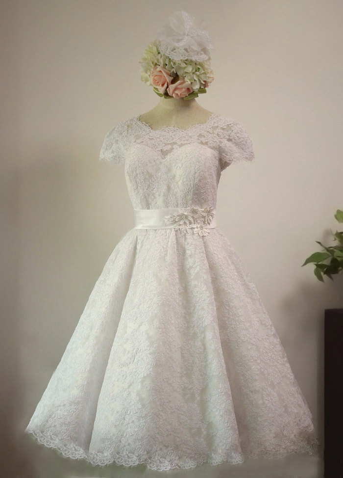 Lace Wedding Dress With Cap Sleeves Style D1919 : Vintage s style lace tea length wedding dress with cap sleeves