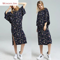 2016 Новое Прибытие Осень женская Одежда О-Образным Вырезом Мода Batwing Рукавом Цветочный Печати Краткая Марка Сексуальная Свободные Длинные Dress SL