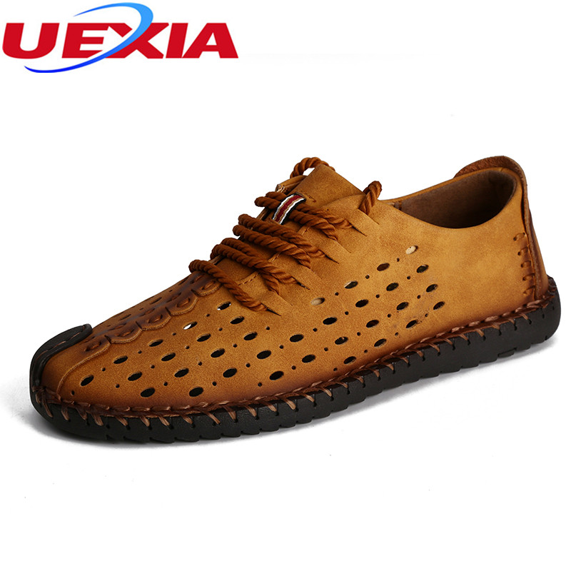 Superstar Mens Summer Hollow Sandals Slip On Fashion New Leathe Zapato Flat Breathable Mesh Solid Flats With Men Casual Shoes