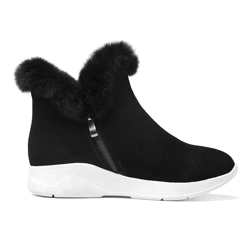 Nobuk Forrado 2018 Mujer Piel Nieve De Zapatillas Real Cálido Plataformas Black brown Invierno Boots Cuero Botines Boots Botas Conejo Ankle Snickers Ew4xpq