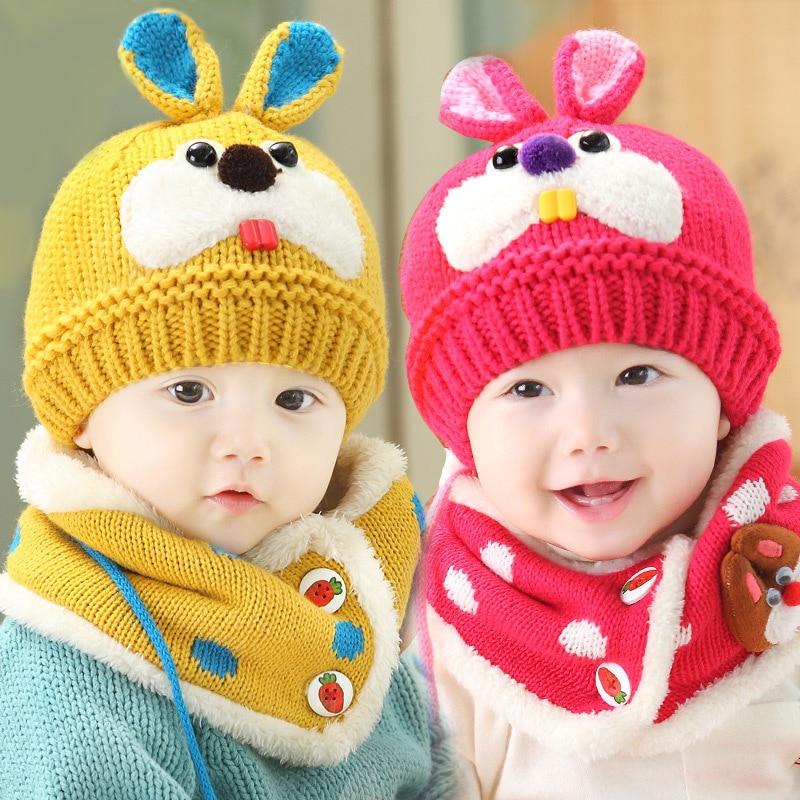 2 pièce ensemble chapeau et écharpe ensemble bébé chapeau d hiver lapin  tricot beanie bonnet chaud chapeaux pour enfants cache cou photographie  props dans ... f483af4ed6a