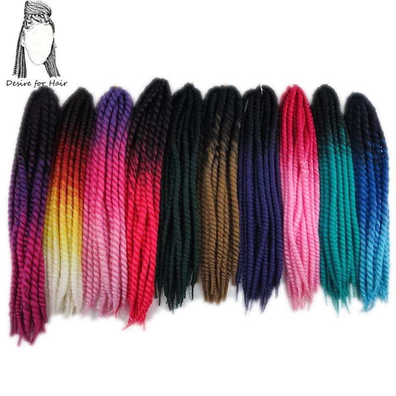 Önskning för hår 1pack 120gram 12strands syntetisk havana twist hår ombre två ton 3 ton färghårig flätor hårförlängningar