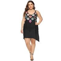 Women dresses random handhook flower Stitched tassels strap double layer sling dresses plus size summer dress rayon