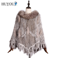 2017 Women's Real Fur Shawl Rabbit knitted With Big Raccoon Fur Collar And Rabbit Hair Tassels Real Fur Cloak 100% Hand Knitting