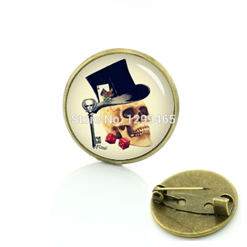 Vintage skeleton badge simple design Gothic gambler skull pins retro ethnic style photo sugar skull special pins C 1245
