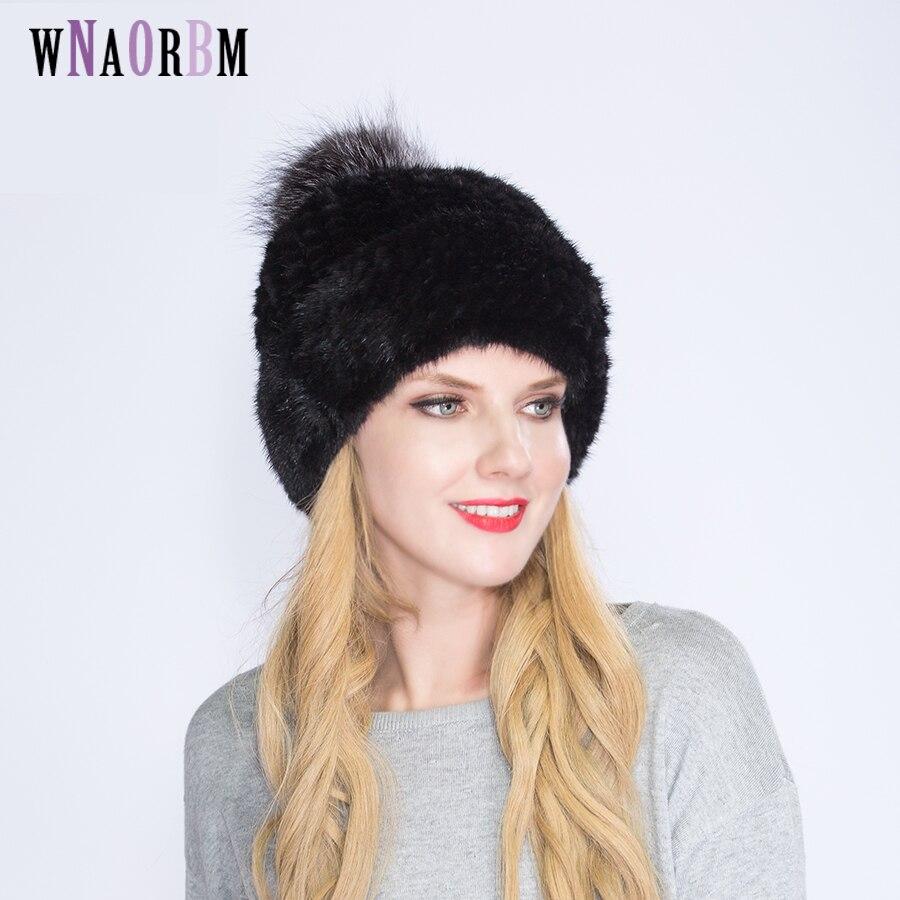 WNAORBM 100% vison nouveau hiver chaud vison chapeau mode dame tissé eau vison chapeau coupe-vent oreille protecteur chapeau avec renard chapeau balle - 3