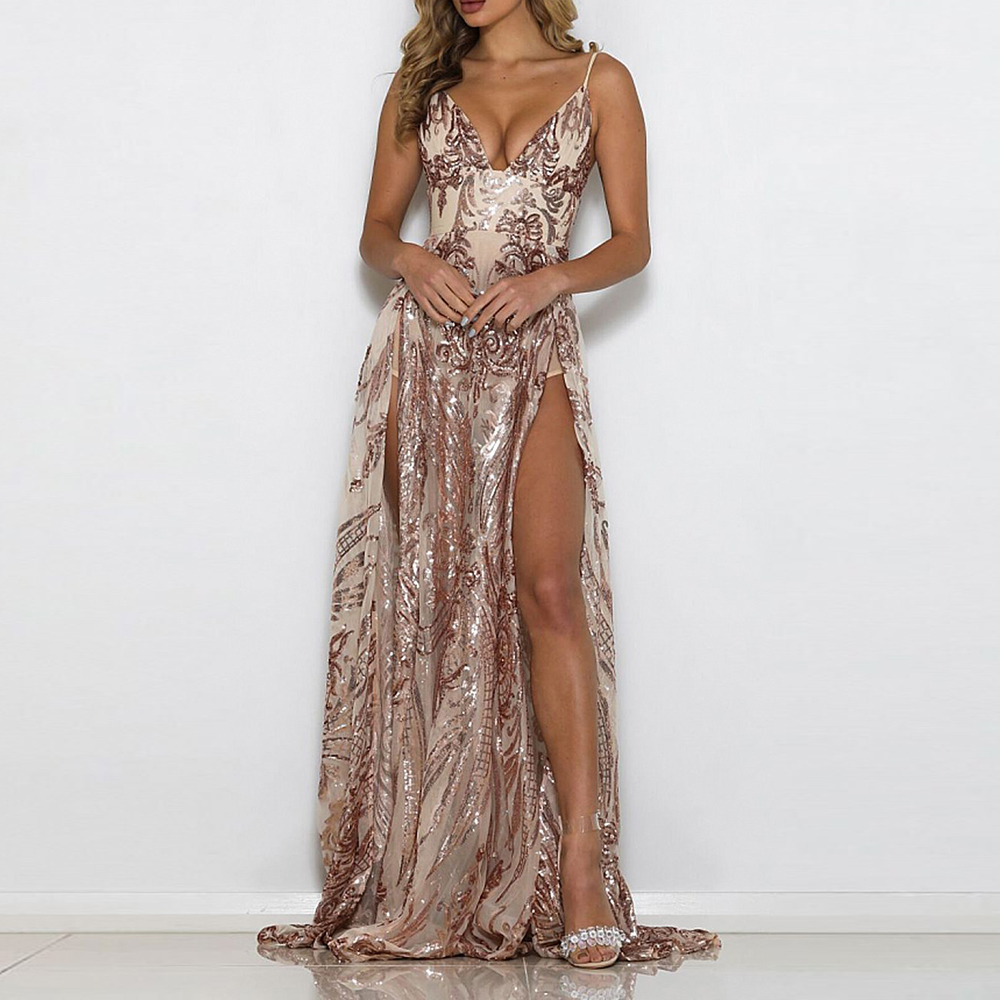 все цены на Sexy Sequined Floor Length Dresses Party Dress Backless Padded Hollow Out Maxi Dress Gown Sleeveless Evening Party Dresses