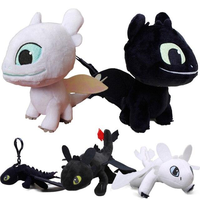 2019 centímetros de 15 Branco 3 How to Train Your Dragon Desdentado Fúria da Noite Brinquedo de Pelúcia Macia Branco Dragão Bicho de pelúcia boneca Brinquedos Luz Fúria