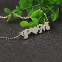 Sterling Silver Two Initials Links By Heart Necklace Couple Letters Customised Family Necklace BFF Pendant Christmas