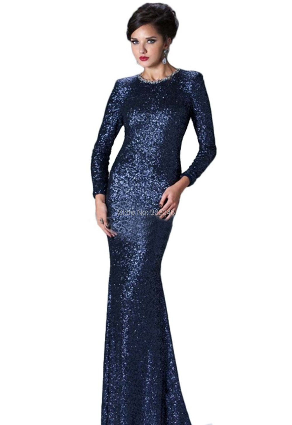 Luxury Navy Blue Long Mermaid O Neck Long Sleeves Sequins Mother\'s ...