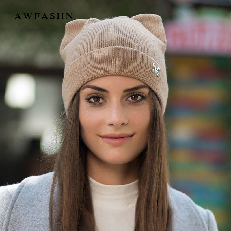 2018 New Brand Fashion Lady Cat Ears Knit Beanies Hat Winter Woman Hat Wool High Quality Soft Cap Cotton Skullies Lovely Bone