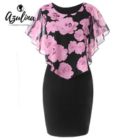 AZULINA Women Dress Plus Size 5XL Rose Valentine Overlay Capelet Bodycon Dress Casual Work Party Office