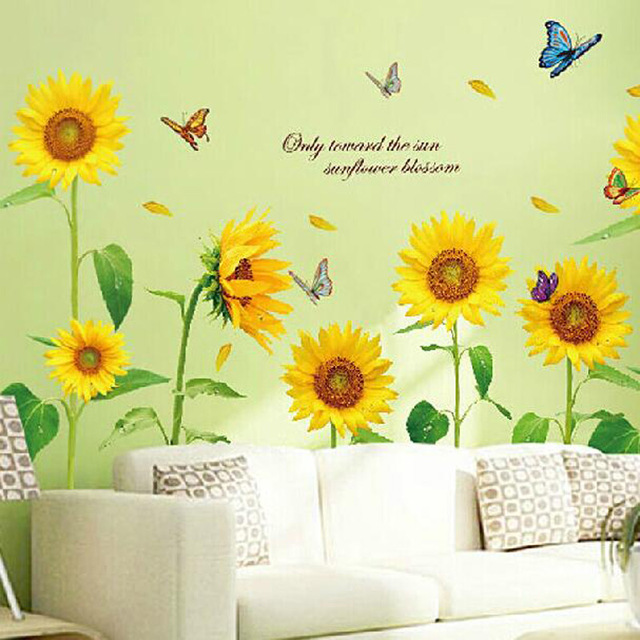 New arrival Warm Romantic Sunflower DIY Removable Wall Stickers Wall ...