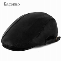Kagenmo Quinquagenarian Male Leather Beret Outdoor Fashion Old Men Leather Winter Hat Cold Spring Keep Warm Man Casual Hat