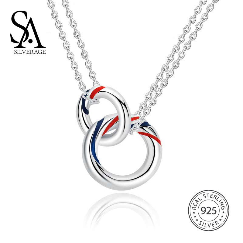 SA SILVERAGE 925 Sterling Silver Double Europa Necklaces Clavicular Chain Pendants Fine Jewelry for Woman sa silverage real 925 sterling silver crystal key necklaces pendants for women silver chain pendant necklaces wedding gifts