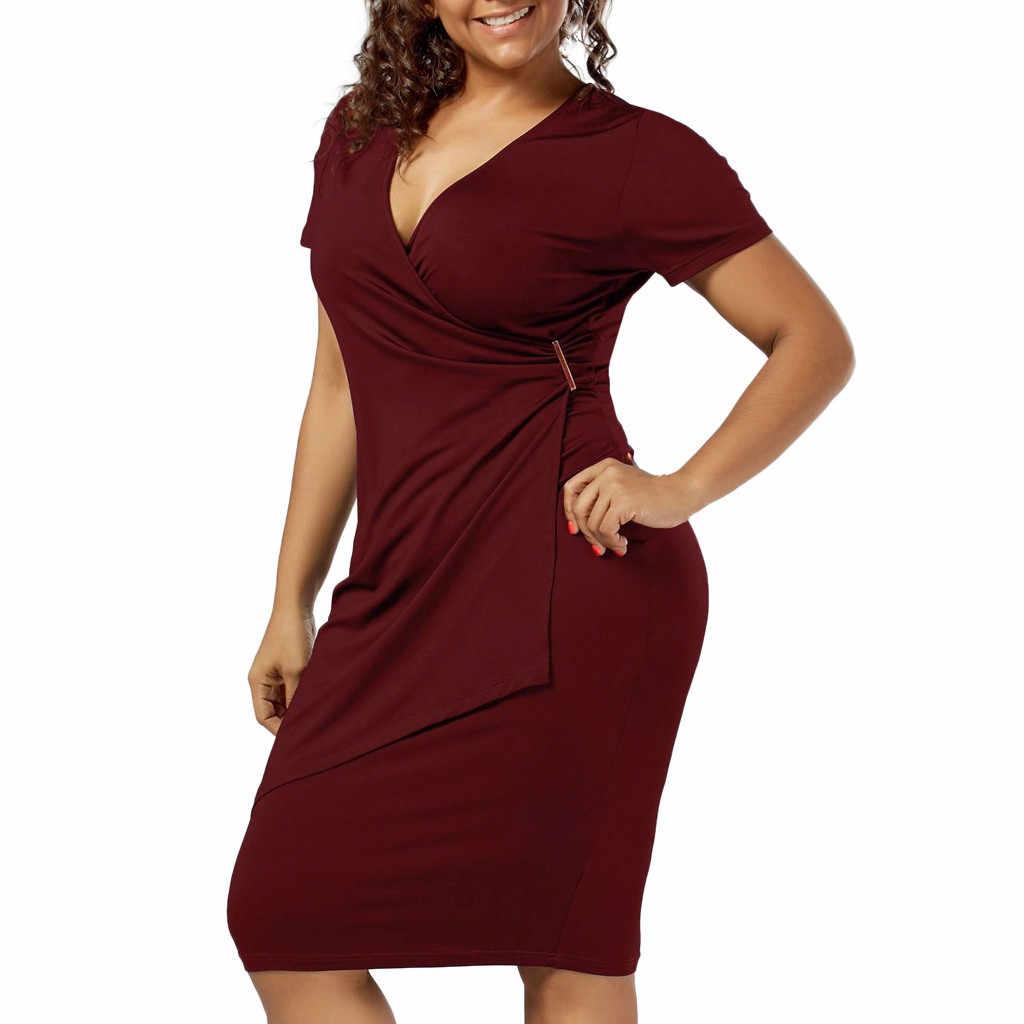 JAYCOSIN 2019 новые летние женские привлекательное облегающее платье мода плюс размер v-образный вырез твердые металлические кнопки дизайн с коротким рукавом облегающее 9040232