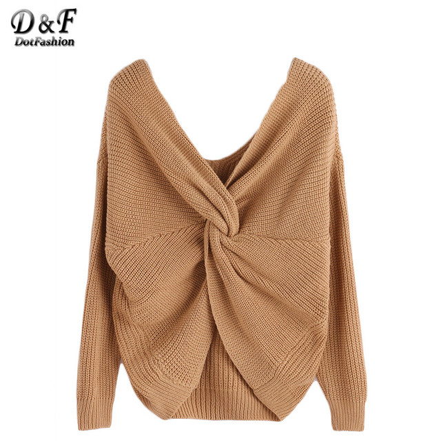 Dotfashion Ladies Knitted Tops Jumpers Women Winter Sweaters and Pullovers Womans Sweater Casual V Neck Knot Sweater
