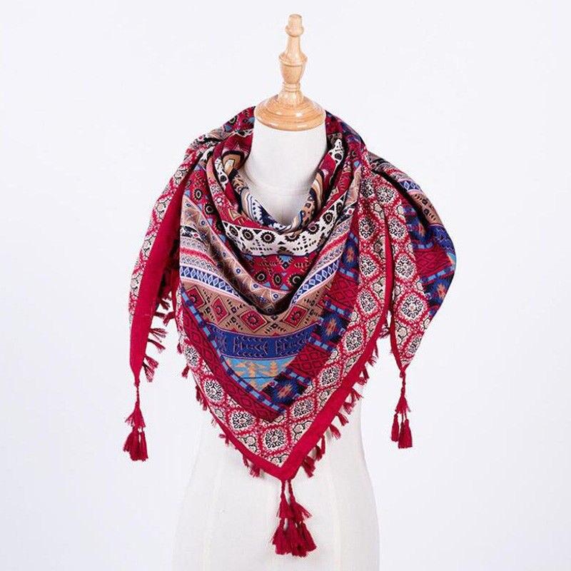 3D Print Lady Fashion Tassels Warm Long Scarf Super Light Women Scarf