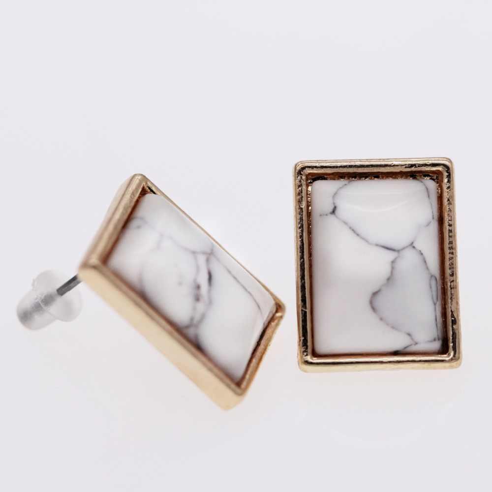 Almei blanc boucles d'oreilles pour femmes rectangulaire boucle d'oreille avec pierres Rose or couleur géométrique boucles d'oreilles bijoux cadeaux pour filles JE131