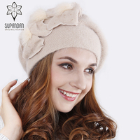 SUPANDAN Knitted Hand Made Beret Hat Scarf Set Women Caps Thick Warm Floral Handmade Wool Windproof