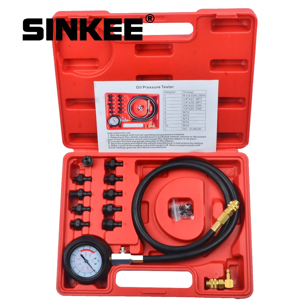 12 Piece Engine Oil Pressure Test Kit Tester Car Garage Tool Low Oil Warning Devices SK1267