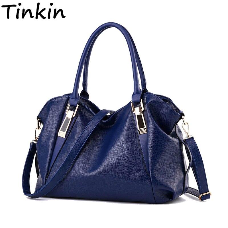 Tinkin Luxury Leather Women Shoulder Bag Fashion Office Worker Handbag Large Capacity Soild Female Totes Four Seasons Universal