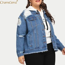 Women Coat Blue Polyester Coat Long Sleeve Pocket Button Denim Jacket Coat Outcoat Women's Casual Hole Blue Jun14(China)