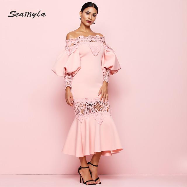 New Celebrity Party Dress Women Sexy Lace Patchwork Vestidos Off Shoulder Pink White Black Long Women Dresses Club