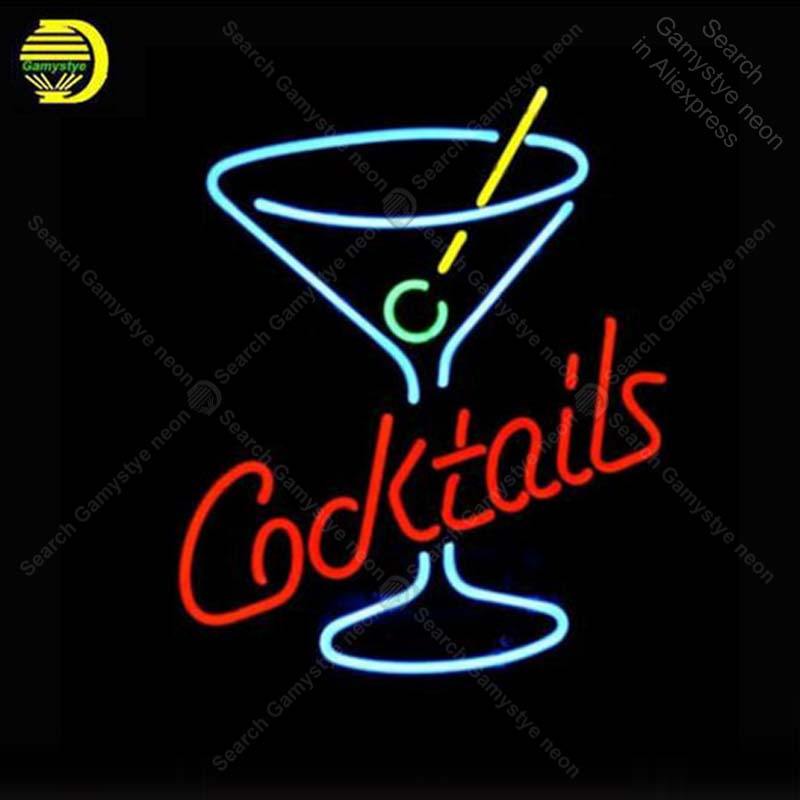 NEON SIGN For Cocktails Martini Glass LOGO Signboard REAL GLASS BEER BAR PUB display RESTAURANT outdoor Light Signs 17*14 image