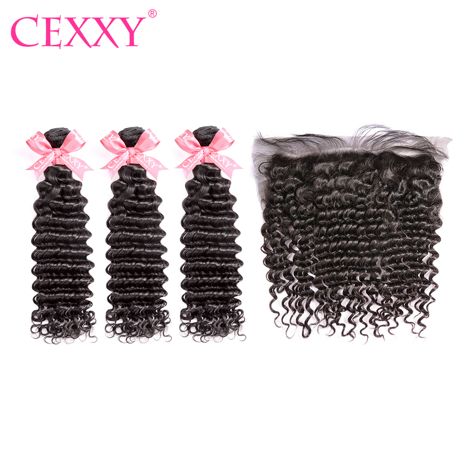 CEXXY Bundles With Frontal Human Hair Brazilian Deep Wave Bundles With Frontal Virgin Hair 13*4 Lace Frontal Free Shipping-in 3/4 Bundles with Closure from Hair Extensions & Wigs    1