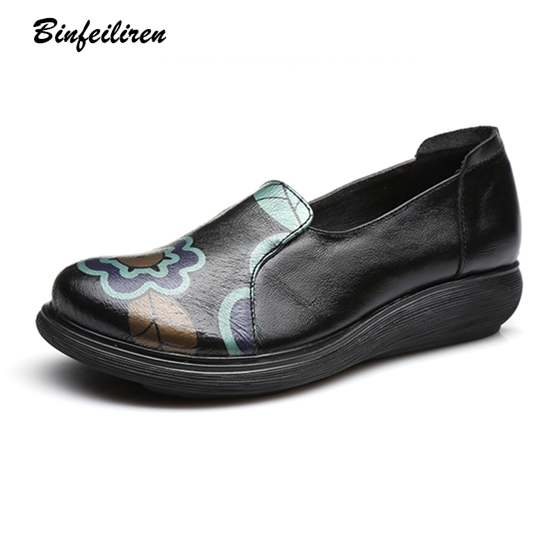 Binfeiliren Women Leather Pumps Flower 3 CM High Heels Wedge Casual Leather Women Shoes Slip On Lazy Shoes Handmade Low Heel nayiduyun women casual shoes low top platform wedge high heels boots round toe slip on pumps punk chic shoes black white sneaker
