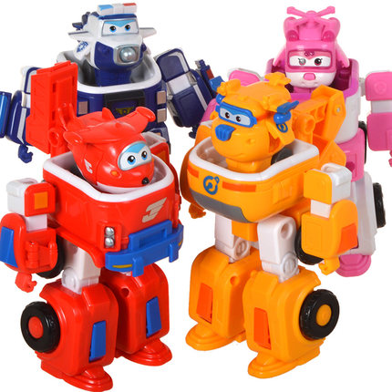 Mini Size--<font><b>4</b></font> models Super Wings Slide pull back Airplane PVC <font><b>Transformation</b></font> Robot Action Figures <font><b>Toys</b></font> Set For Christmas Gifts image