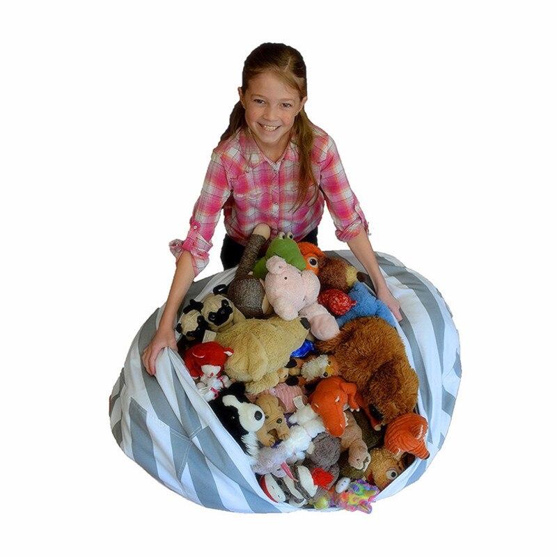 ROSEHOME Creative jouets en peluche sac de rangement rayé coton peluche animaux de stockage sac d'haricot chaise enfants jouet vêtements courtepointes organisateur