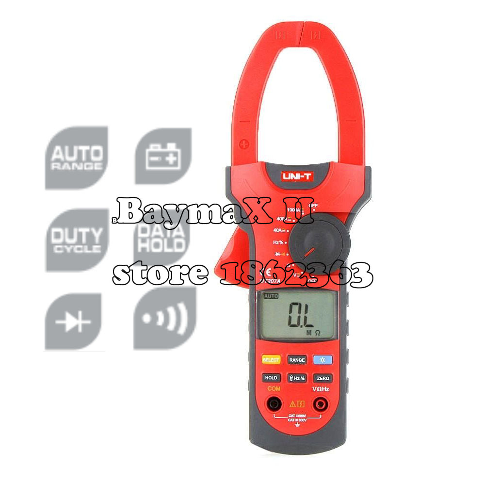 UNI-T UT207A Professional Auto-ranging Clamp LCD Digital Multimeter AC/DC Volt Amp Ohm Hz Tester Data Hold