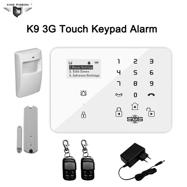 Wireless GSM Home Alarm System Touch Keyboard House Alarm Security 433MHz with Magnetic Window+PIR Motion Detector