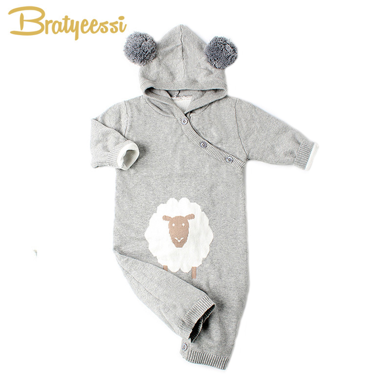 Fashion Knitted Baby Jumpsuit Cartoon Hooded Baby Rompers with Pom Pom Long Sleeve Cotton Toddler Overalls 2017 funny baby christmas rompers tiny cottons red green long sleeve toddler fashion jumpsuit sunsuits baby party