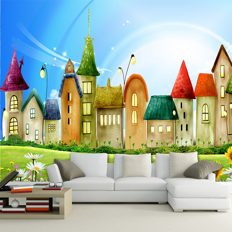 Custom Mural Wallpaper Roll 3D Embossed Non-woven Cartoon House Bright Color Mural Kids Wall Paper Home Decor TV Sofa Backdrop