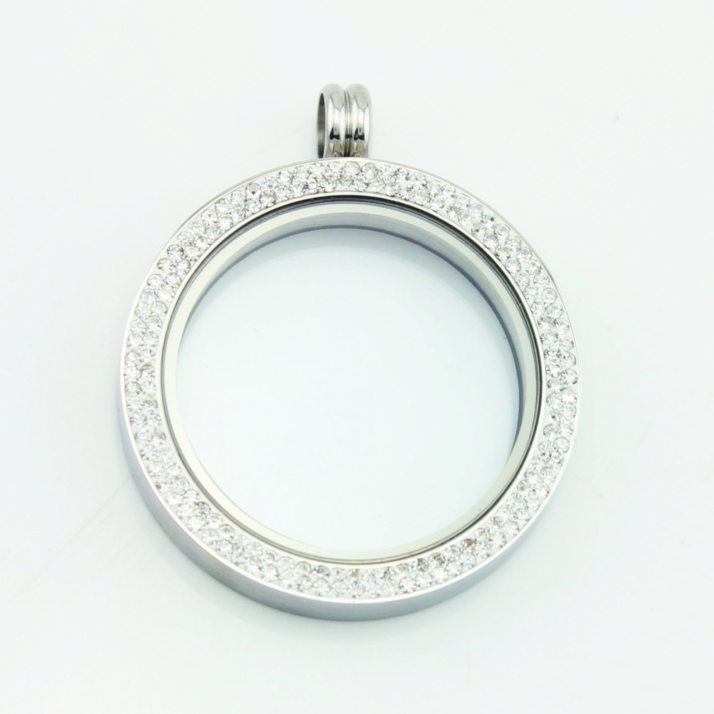 Hot Sale 39mm 316 Stainless Steel Memory Locket Pendant Floating Charm Double Row Crystal Locket For