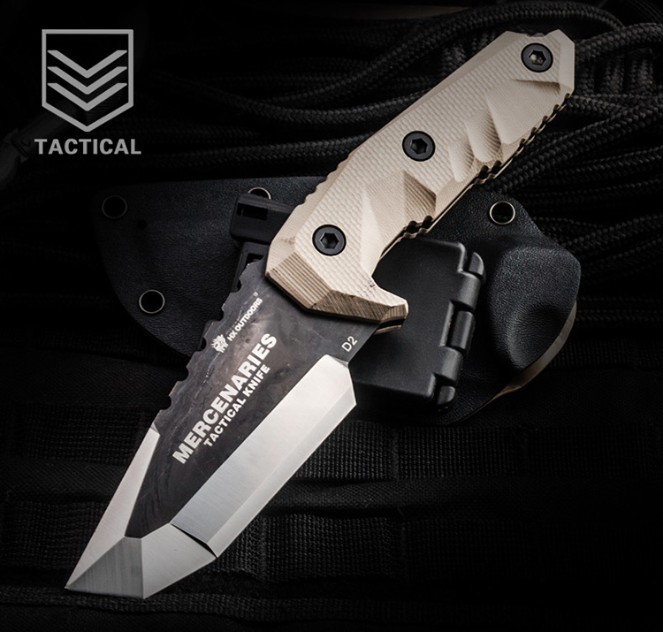 HX OUTDOORS Mercenaries Fixed Blade Knife D2 Blade With G10 Handle Defense Survival Camping Rescue Hunting Knives With K sheath aluminum handle small machete fixed blade knife self defense outdoors camping tactical survival knives 1868