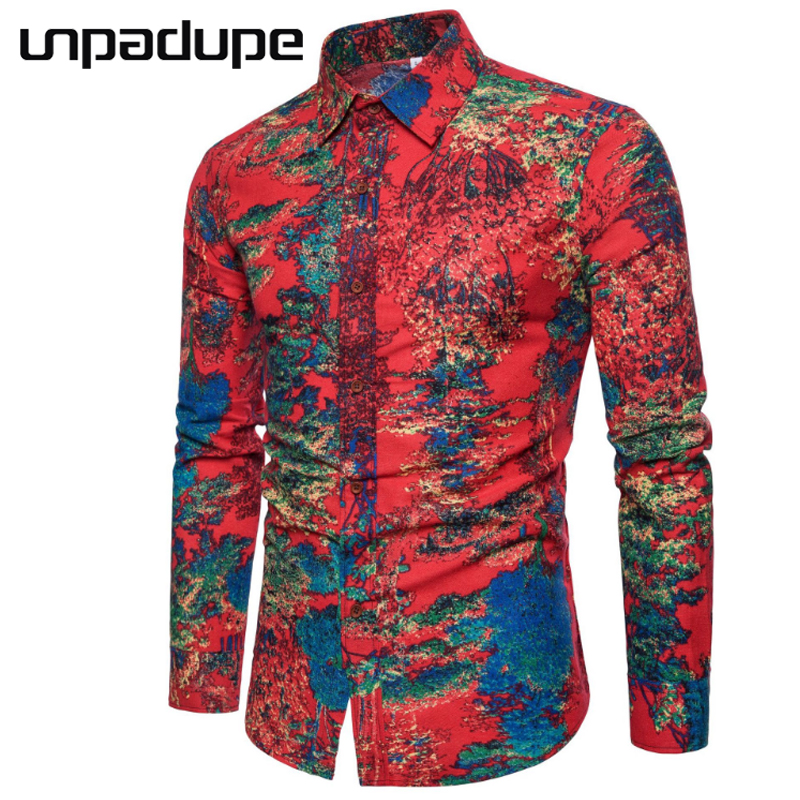 Hot Sale 2018 Spring Fashion Long Sleeve MenS Shirts Tide Color Casual Linen Slim Fit Shirt Men Camisa Masculina Plus Size 5XL