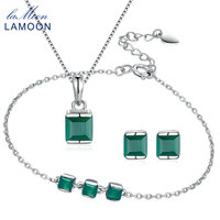 LAMOON Gemstone Natural Green Chalcedony S925 Sterling Silver Simple Fine Jewelry Set For Women Anniversary Gift V008 3
