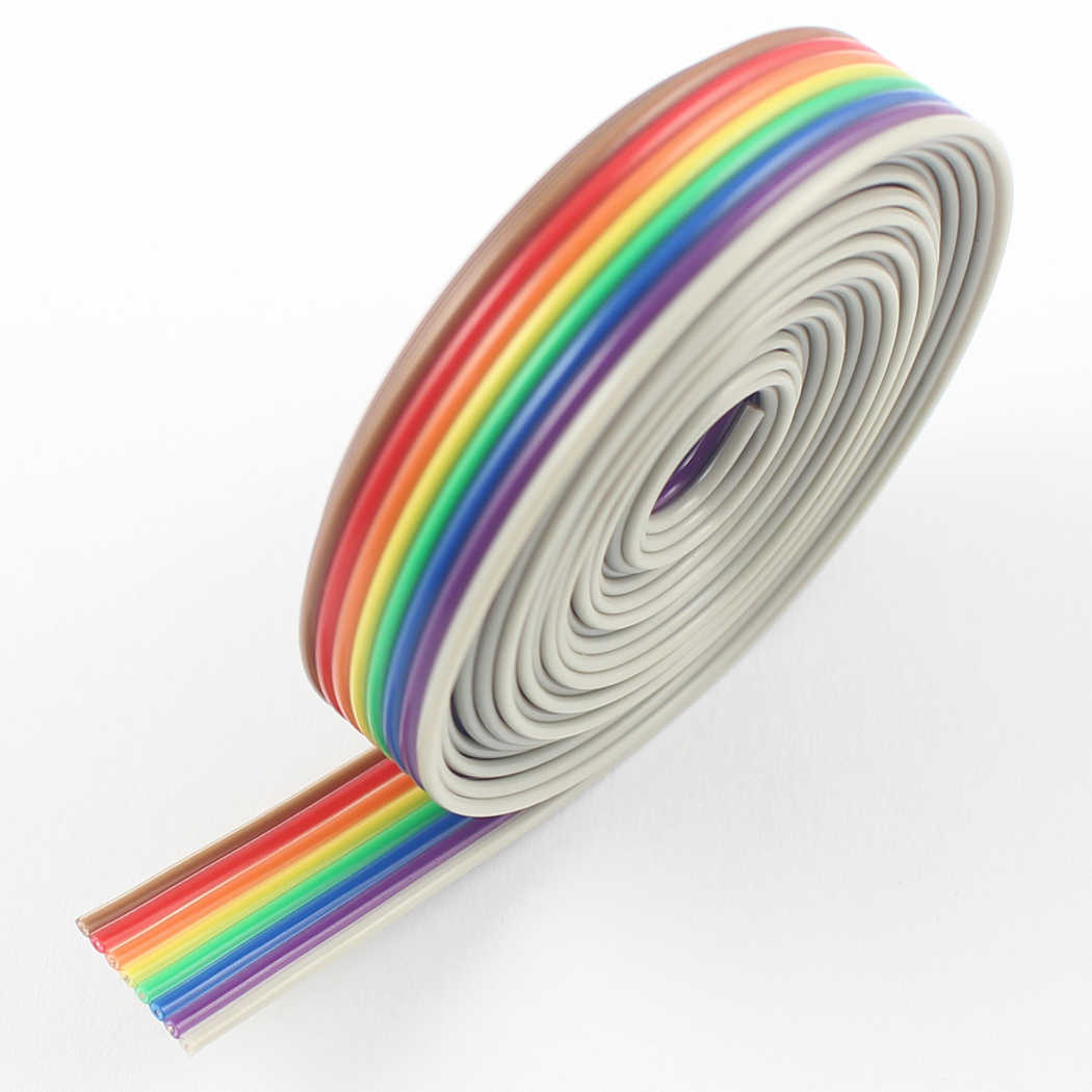 medium resolution of 2m meter 6 6ft 1 27mm pitch 8 way wire conductor rainbow color idc flat